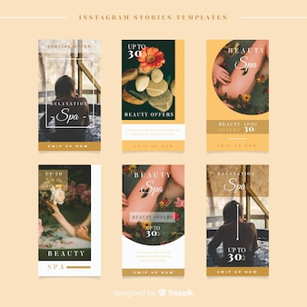 Spa instagram story template with photo