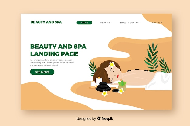 Spa landing page template with a woman