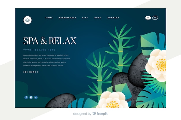 Spa landing page with natural elements