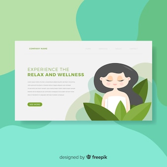 Spa landing page with a woman