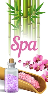 Spa lettering, bamboo, orchid and salt. spa salon advertising poster