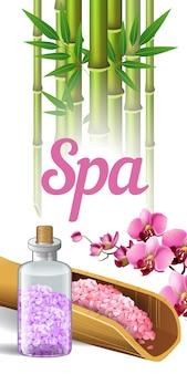 Lettering spa, bambù, orchidea e sale. manifesto pubblicitario del salone della stazione termale
