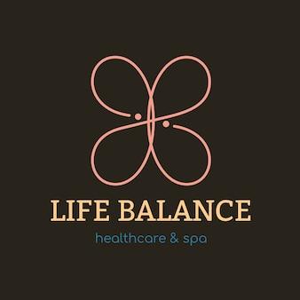 스파 로고 템플릿, 건강 및 웰빙 비즈니스 브랜딩 디자인 벡터, 생활 균형 텍스트