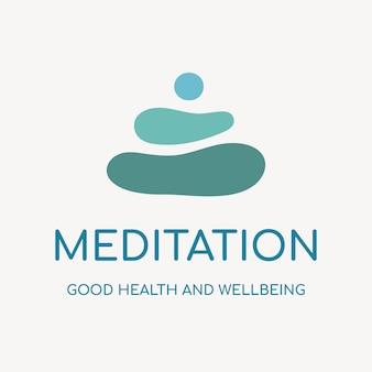 Modello di logo della spa, vettore di design del marchio aziendale di salute e benessere, testo di meditazione
