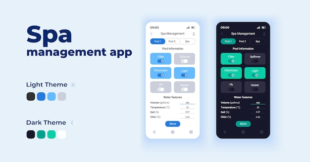 スパ管理アプリ漫画スマートフォンインターフェースベクトルテンプレートセット。モバイルアプリの画面ページの日とダークモードのデザイン。アプリケーションのプール情報ui。電話ディスプレイ