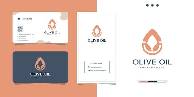 스파 올리브 오일 방울 로고 디자인 및 명함