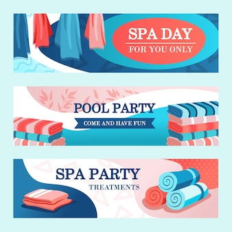 Spa party banners design with towels. bright modern leaflet with rolled and stacked towels. spa and relaxation concept. template for poster, promotion or web design
