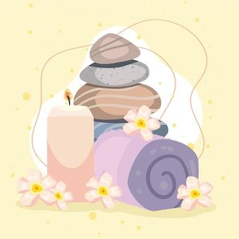 石のキャンドルとタオルでスパのポスターと美しさ