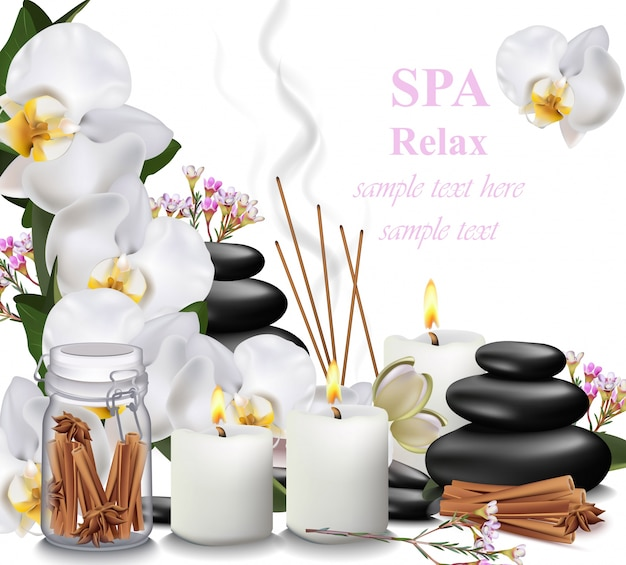 Spa relax card candles, orchid, aromas and stones vector illustrations
