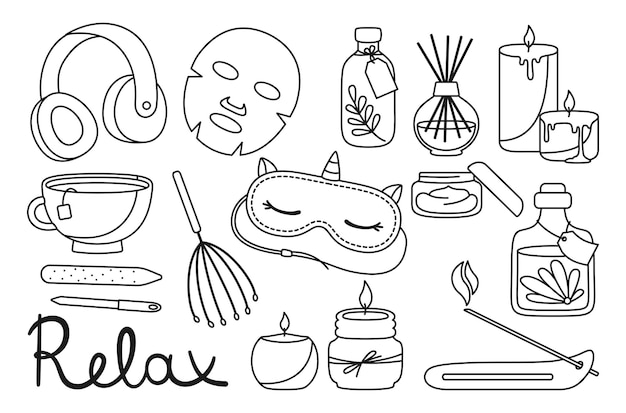 Spa relaxation salon doodle set aromatherapy spa aromatic candle sleep mask and tea cup