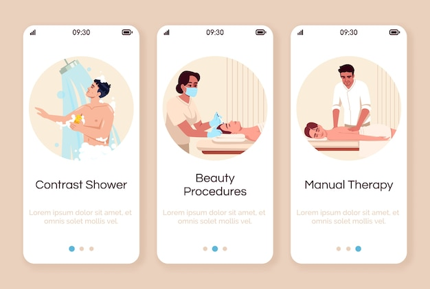 Spa resort onboarding mobile app screen  template. hot shower. cosmetological treatment. body care and pamper. walkthrough website steps with  characters. smartphone cartoon ux, ui, gui