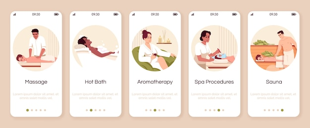 Spa resort procedures onboarding mobile app screen  template. hot bath. aromatherapy for wellbeing. walkthrough website steps with  characters. smartphone cartoon ux, ui, gui