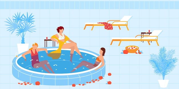 Spa resort vacation, swimming pool  illustration.