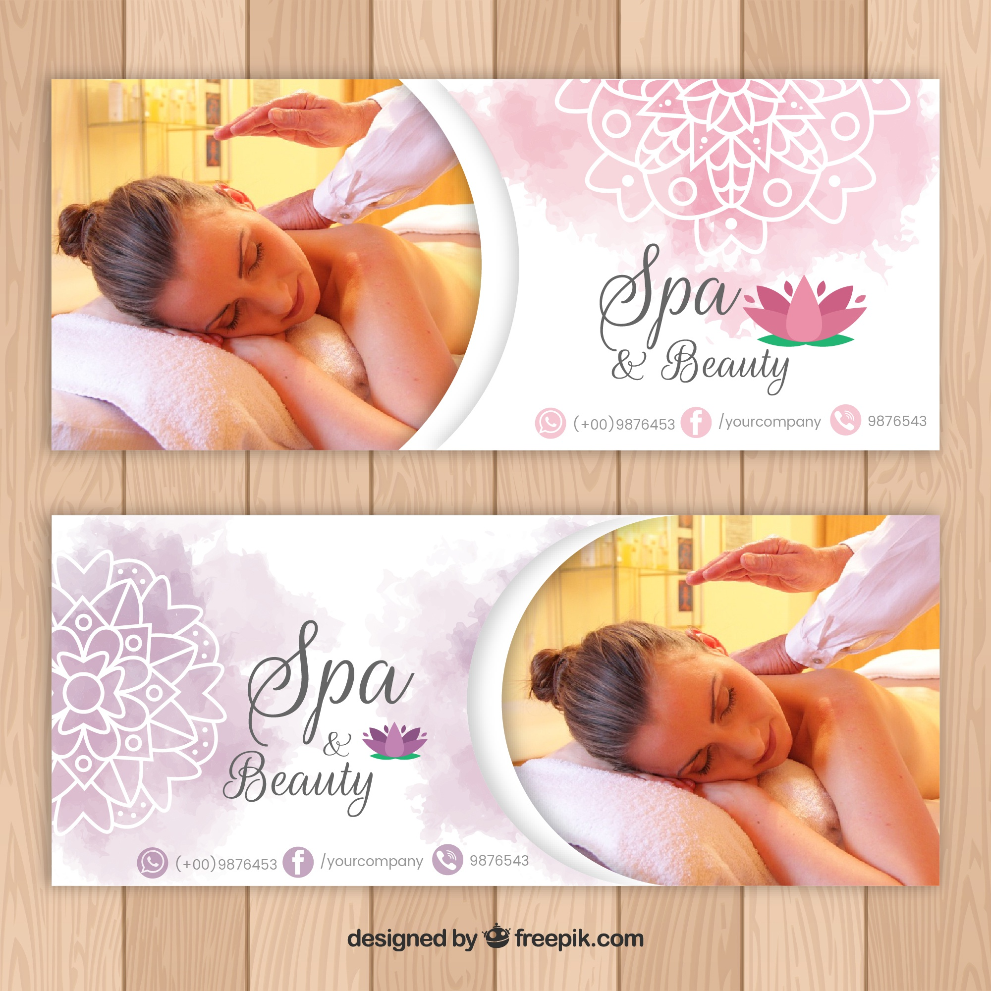 Spa salon banners with a photo