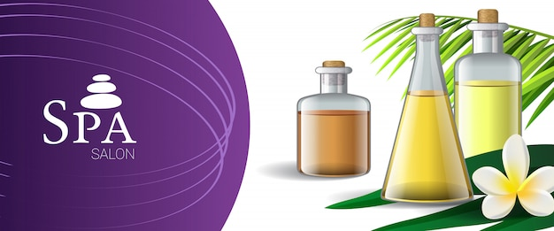Spa salon brochure design with massage oil, palm leaf and tropical flower