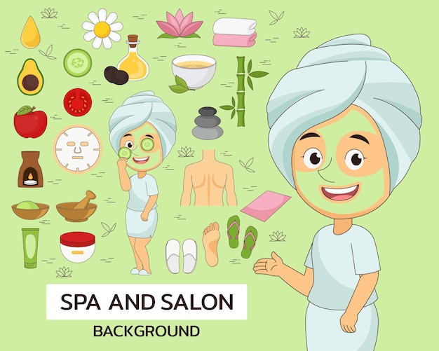 Spa and salon concept background. flat icons.