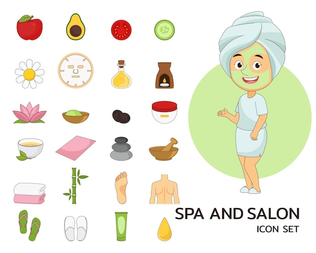 Spa and salon concept flat icons.