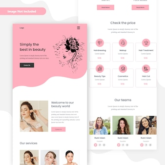 Spa salon email marketing template landing page