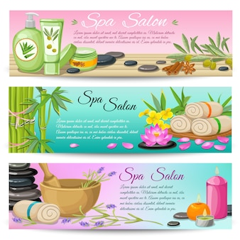Spa salon horizontal banners set