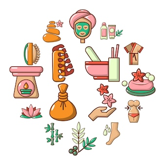 Spa salon icon set, cartoon style