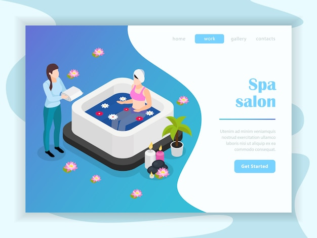 Spa salon isometric landing page