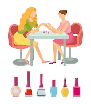 Spa salon manicure bottles polishers set vector