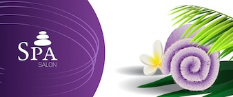 Spa salon promotion banner with palm leaf, tropical flower and lilac rolled towel