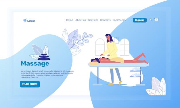 Spa salon, resort landing page vector template