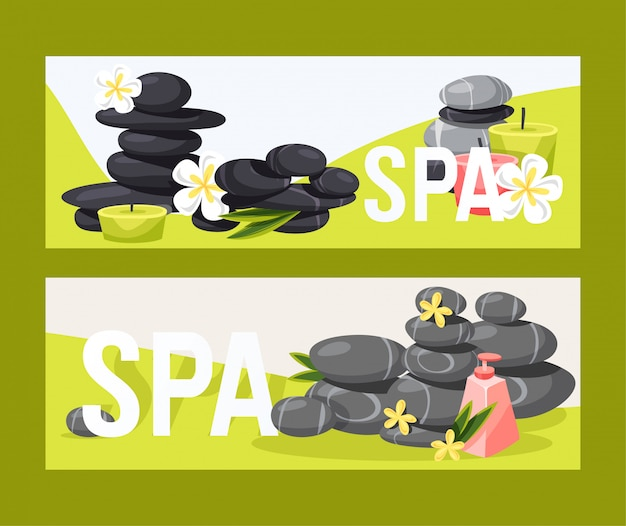 Spa stone vector zen stony therapy for beauty health and relaxation