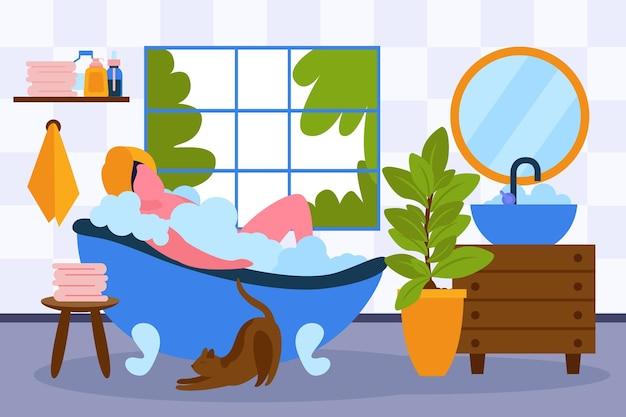 거품 거품으로 목욕을 하며 휴식을 취하는 여성과 함께 집에서 스파 테라피