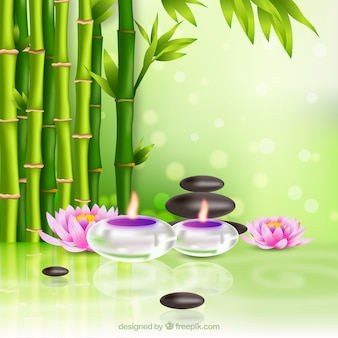 Spa therapy background with candles in realistic style