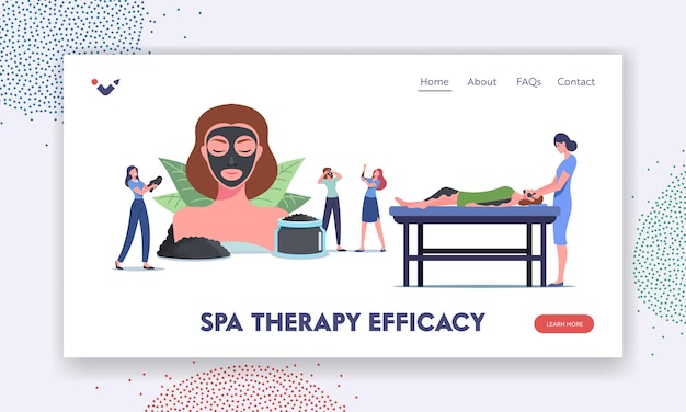 Spa therapy efficacy landing page template. tiny female characters around of huge woman head with mineral mud facial mask, naturalcharcoal cream, skin treatment. cartoon people vector illustration