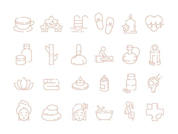 Spa thin icons. woman beauty therapy treatment ayurveda solarium sauna relax hot stones and smell vector symbols