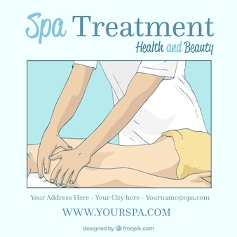 Spa treatment in hand drawn style