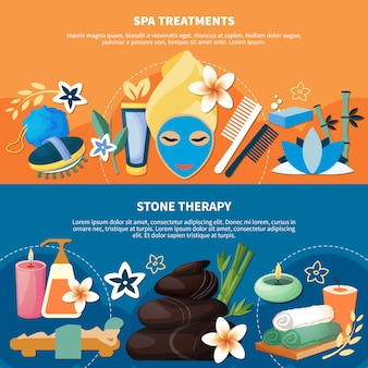 Spa treatments 2 flat banners