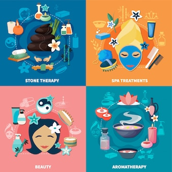 Spa treatments 4 flat icons