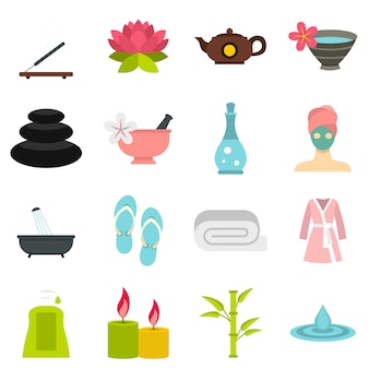 Spa treatments set flat icons