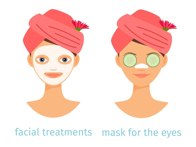 Spa treatments on women's faces