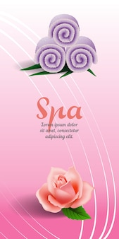 Spa vertical banner with rose and lilac rolled towel on pink background.