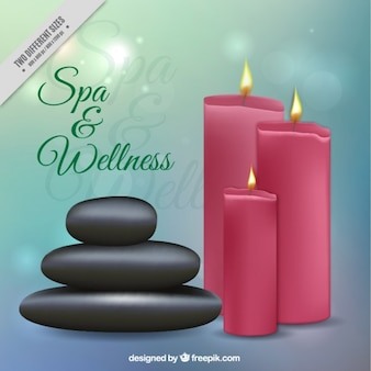 Spa and wellness background with candles and stones