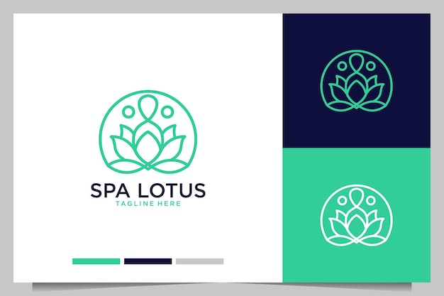 Spa with lotus beauty line art style logo design