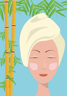 Spa woman towel care skin bamboo blue background