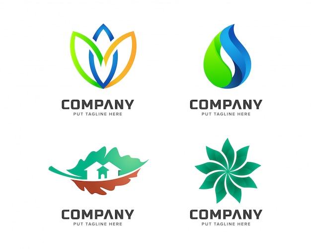 ビジネス緑の自然、spaのロゴのテンプレートセット