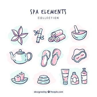 Коллекция элементов spa с ароматическими жидкостями