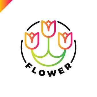 三つの花のロゴが円の中にあります。チューリップspaのアイコン。化粧品ホテルの庭美容室ロゴタイプのコンセプト。