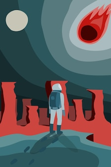 Space abstract space landscape astronaut cosmonaut looks at comet meteor falling catastrophe