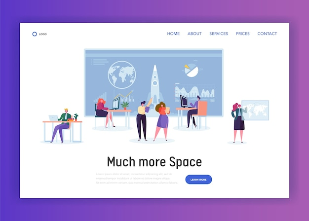 Space administration office landing page. character work on aeronautics and aerospace research. engineer construct rocket for visit orbit website or web page. flat cartoon vector illustration