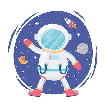 Space adventure cartoon astronaut moon rocket and comet illustration