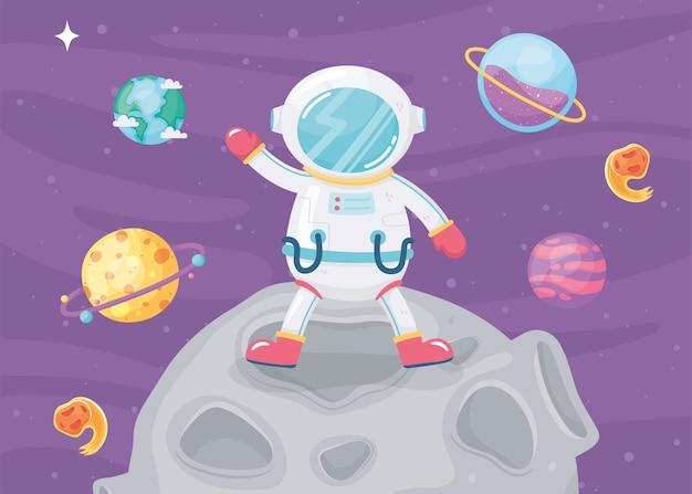 月のイラストに立っている宇宙冒険漫画宇宙飛行士