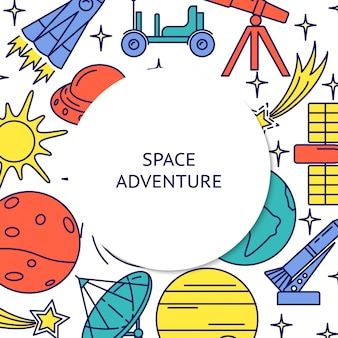 Space adventure colorful elements rounded frame background